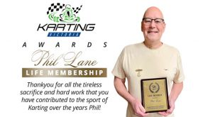 Phil lane awarded with Life Membership at the Karting Victoria AGM